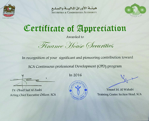 Finance House Securities gets SCA Certificate of Appreciation